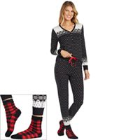 Petite Cuddl Duds Pajamas: Lucky Stripes Henley Top, Jogger Pants & Socks 3-Piece PJ Set