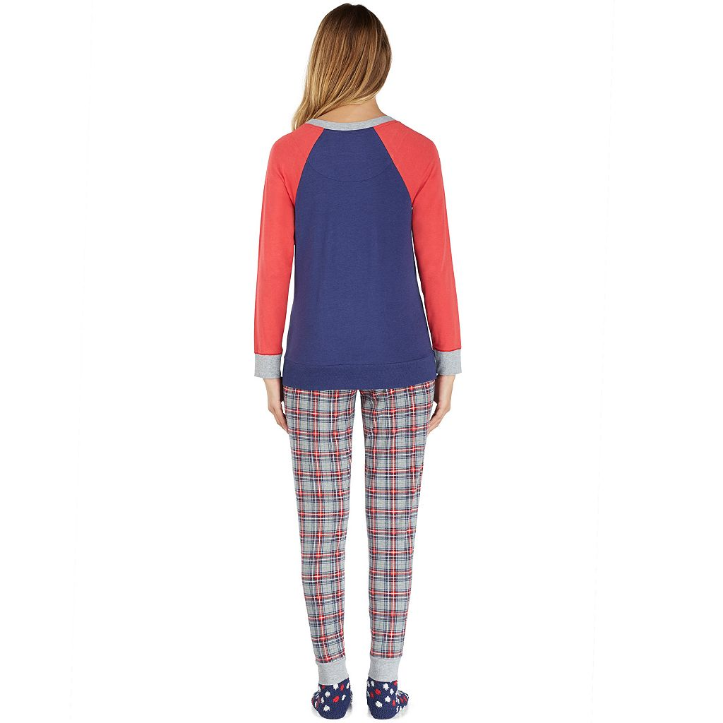 Women's Cuddl Duds Pajamas: Lucky Stripes Top, Jogger Pants & Socks 3-Piece PJ Set