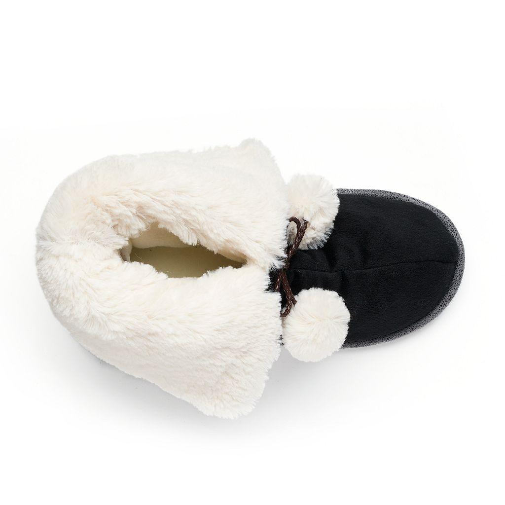Cuddl Duds Women's Pom Pom Bootie Slippers