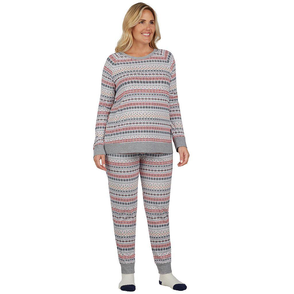 Plus Size Cuddl Duds Pajamas: Lucky Stripes Top, Jogger Pants & Socks 3-Piece PJ Set