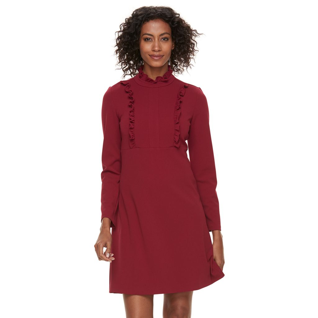 Women's Sharagano Ruffle Mockneck A-Line Dress