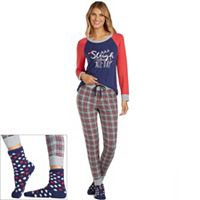Petite Cuddl Duds Pajamas: Lucky Stripes Top, Jogger Pants & Socks 3-Piece PJ Set
