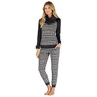 Women's Cuddl Duds Pajamas: Wake Up Call Top, Jogger Pants & Scarf 3-Piece PJ Set