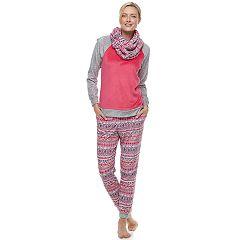 Women's Cuddl Duds Pajamas: Wake Up Call Top, Jogger Pants & Scarf 3-Piece PJ Set