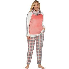 Plus Size Cuddl Duds Pajamas: Wake Up Call Top, Jogger Pants & Scarf 3 pc PJ Set