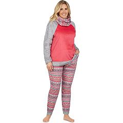 Plus Size Cuddl Duds Pajamas: Wake Up Call Top, Jogger Pants & Scarf 3 pc PJ Set
