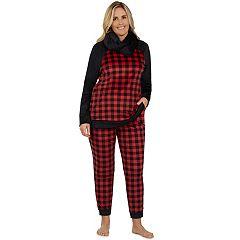 Plus Size Cuddl Duds Pajamas: Wake Up Call Top, Jogger Pants & Scarf 3-Piece PJ Set