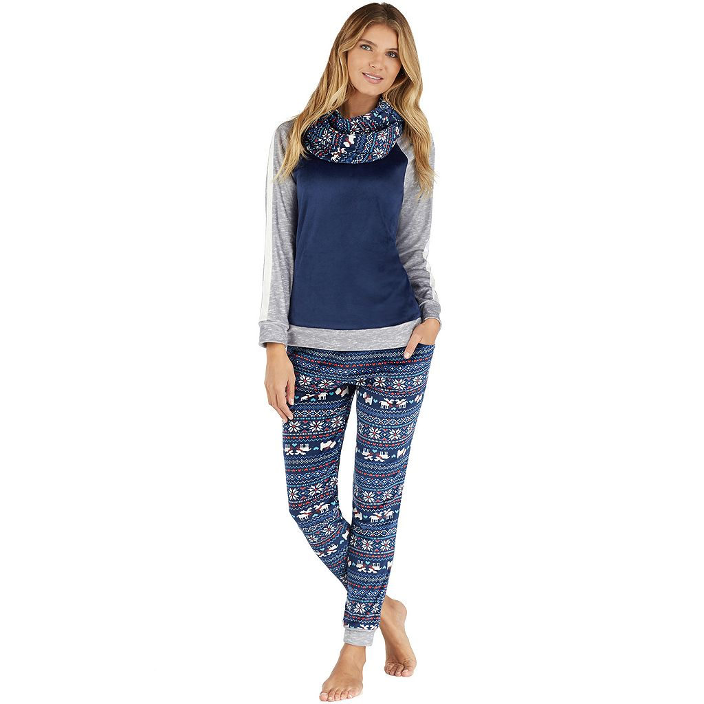 Petite Cuddl Duds Pajamas: Wake Up Call Top, Jogger Pants & Scarf 3-Piece PJ Set