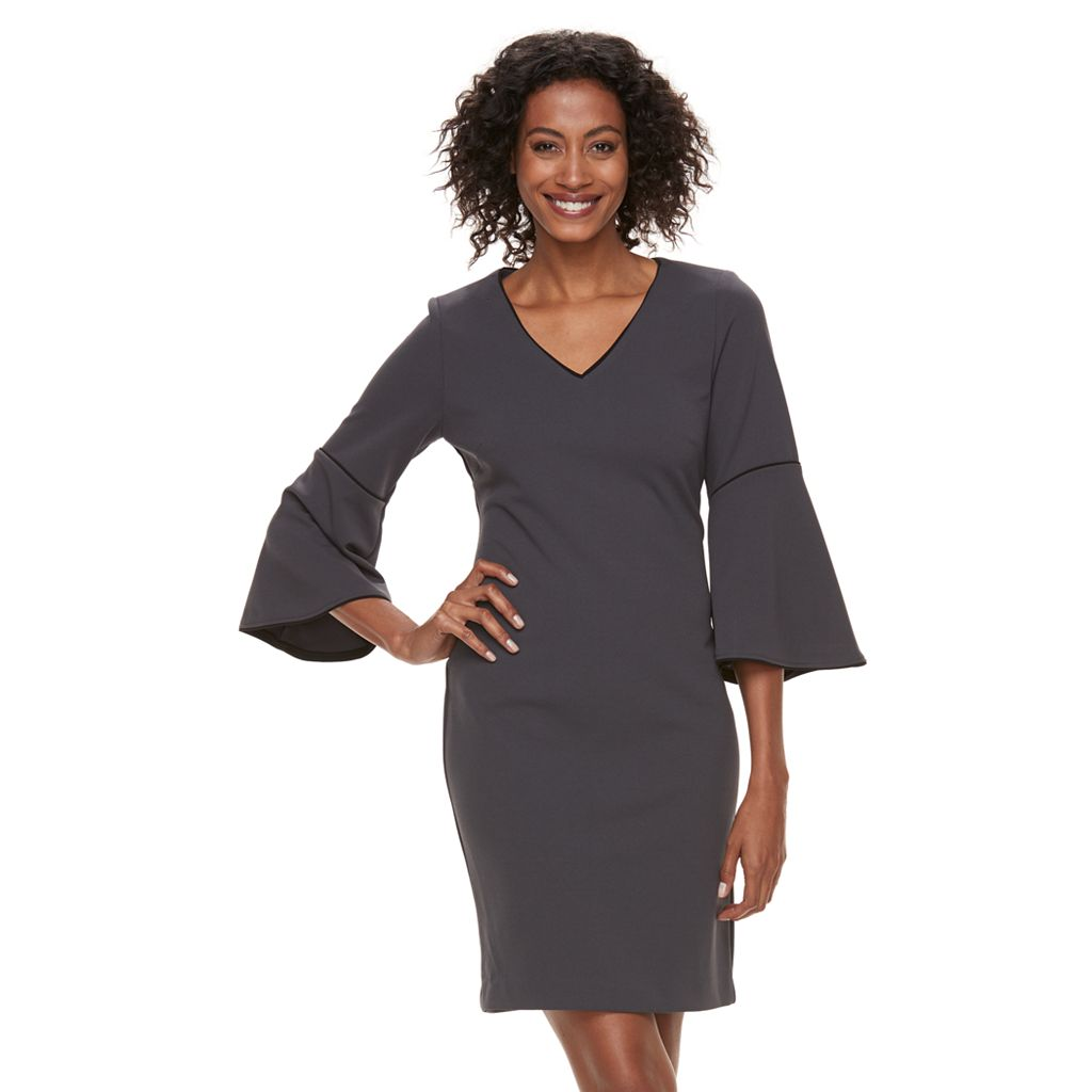 Women's Sharagano Piped Bell Sleeve Sheath Dress