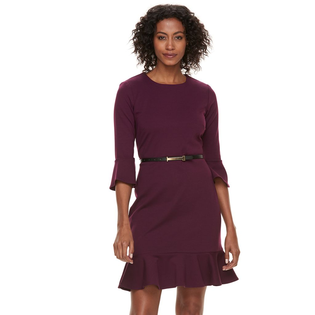 Women's Sharagano Ponte Bell Sleeve Flounce Dress