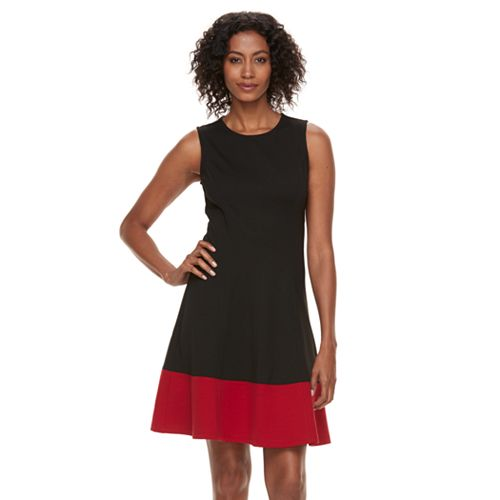 Women's Sharagano Ponte Colorblock A-Line Dress