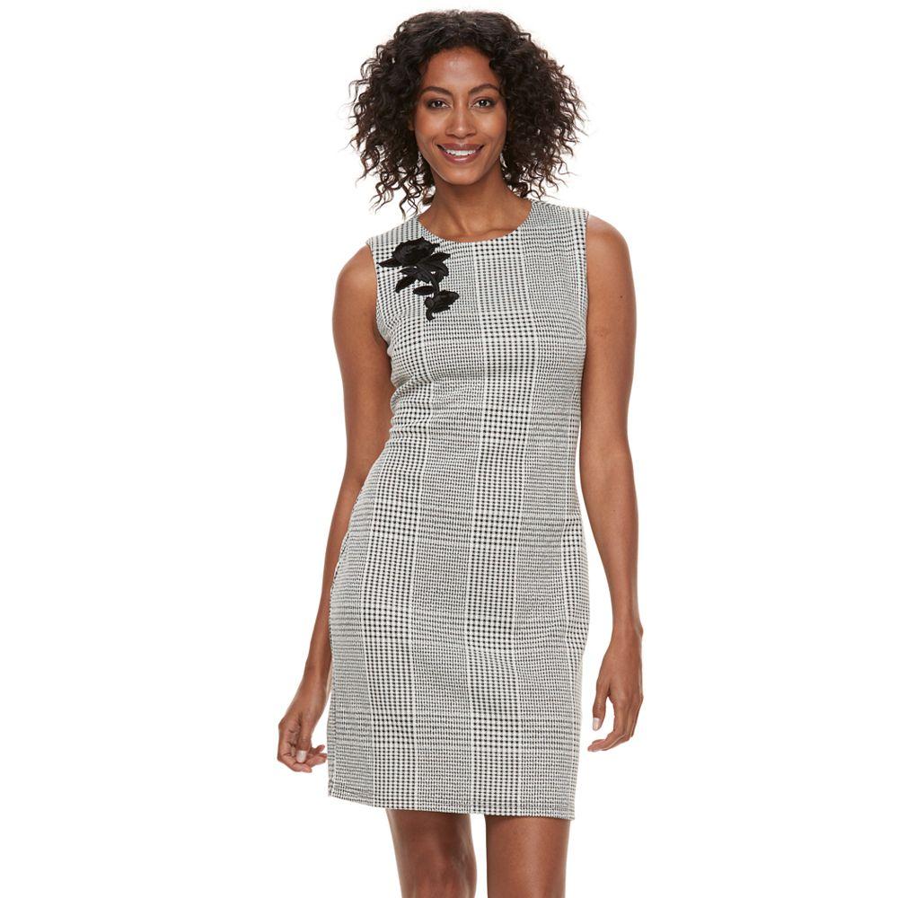 Women\'s Sharagano Applique Houndstooth Sheath Dress