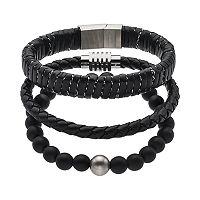 1913 Men's 3 pc Black Leather Bracelet Set