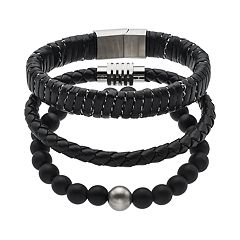 1913 Men's 3 pc Black Leather Bracelet Set