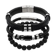 1913 Men's 3 pc Stainless Steel & Black Leather Bracelet Set
