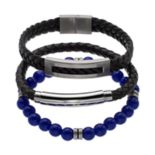 1913 Men's 3-pc. Black Leather & Lab-Created Lapis Lazuli Bracelet Set