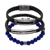 1913 Men's 3 pc Black Leather & Lab-Created Lapis Lazuli Bracelet Set