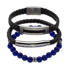 1913 Men's 3 pc Black Leather & Lab-Created Lapis Lazuli Bracelet Set