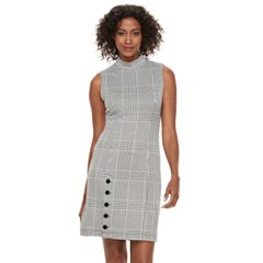 Women's Sharagano Velvet Button Houndstooth Sheath Dress