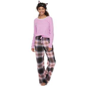 Juniors' SO® Pajamas: Flannel Pants, Top & Eye Mask 3-Piece PJ Set