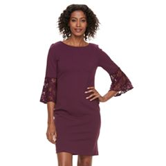Women's Sharagano Lace Bell Sleeve Shift Dress