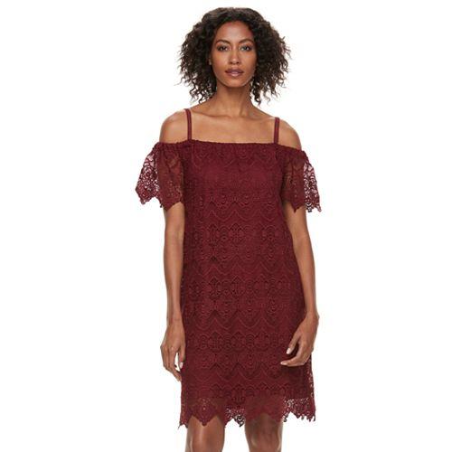 Women's Hope & Harlow Off-the-Shoulder Lace Shift Dress
