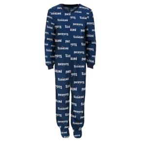 Juniors' New England Patriots One-Piece Fleece Pajamas