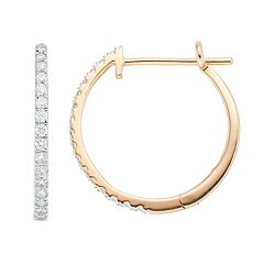 10k Gold 1/2 Carat T.W. Diamond Hoop Earrings
