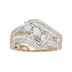 10k Gold 3/4 Carat T.W. Diamond 3-Stone Ring