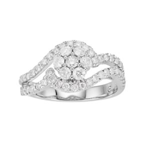10k White Gold 1 Carat T.W. Diamond Cluster Ring
