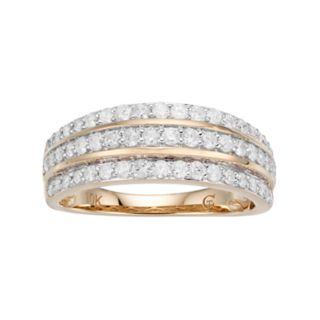 10k Gold 3/4 Carat T.W. Diamond Multi Row Ring