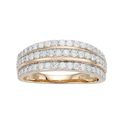 10k Gold 3/4 Carat T.W. Diamond Multi Row Ring