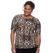 Plus Size Dana Buchman Shirred Elbow Sleeve Top