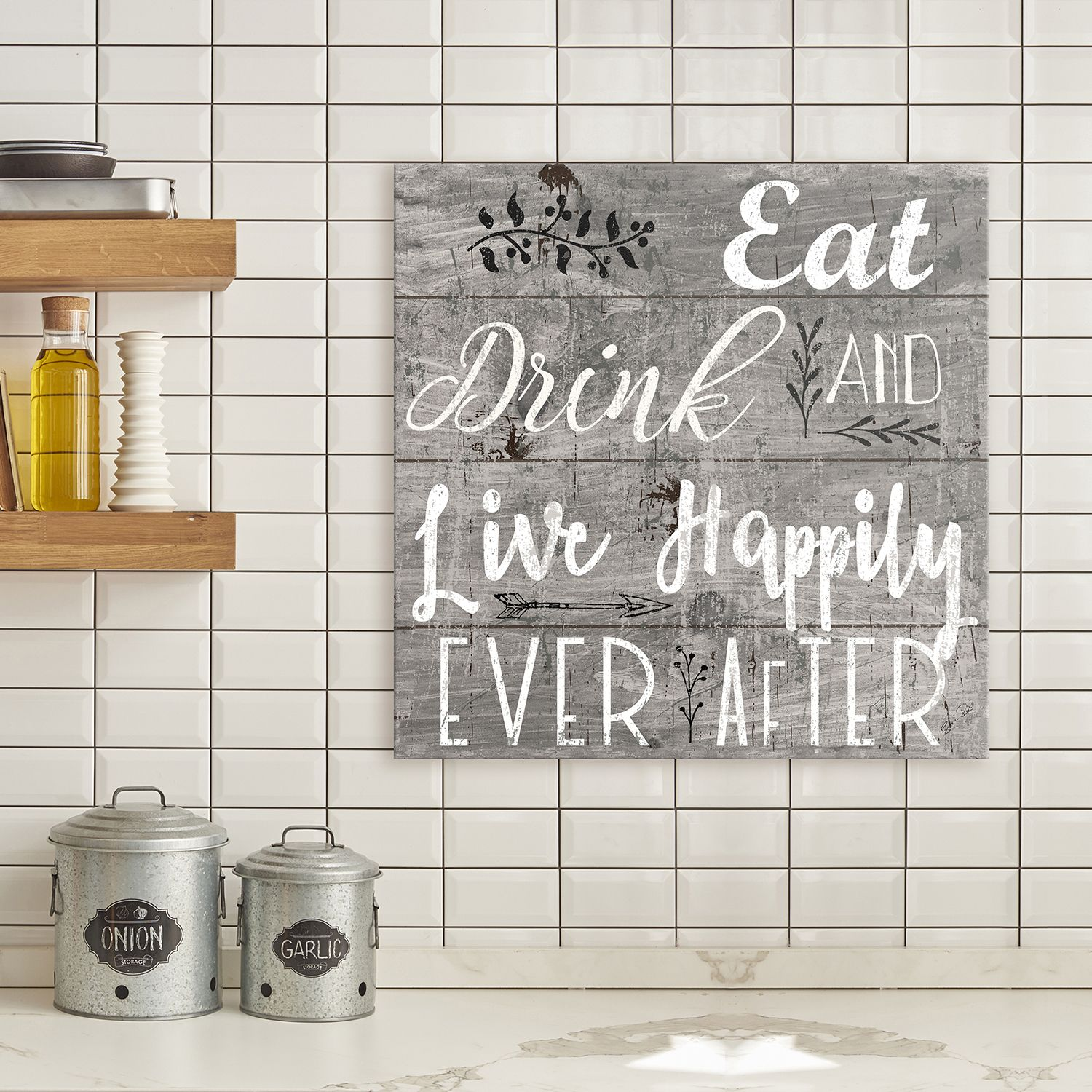 Artissimo Designs U0027Happily Ever Afteru0027 Canvas Wall Art