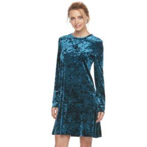 Women's Suite 7 Velvet Long Sleeve Shift Dress