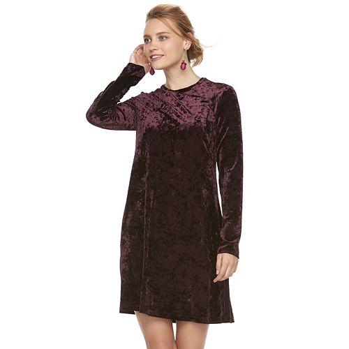 0fbb3ef0d1ef Women s Suite 7 Velvet Long Sleeve Shift Dress