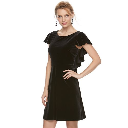 Women's Suite 7 Velvet Flutter Sleeve Dress