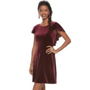 Women's Suite 7 Velvet Flutter Sleeve Dress