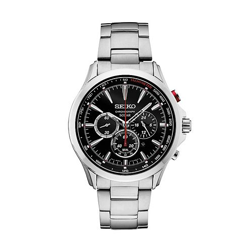 Seiko Men's Stainless Steel Solar Chronograph Watch - SSC493