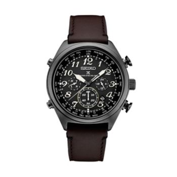 Seiko Men's Prospex Leather Radio Sync Solar Watch - SSG015