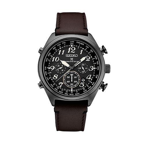 Seiko Men's Prospex Leather Radio Sync Solar Watch - SSG015