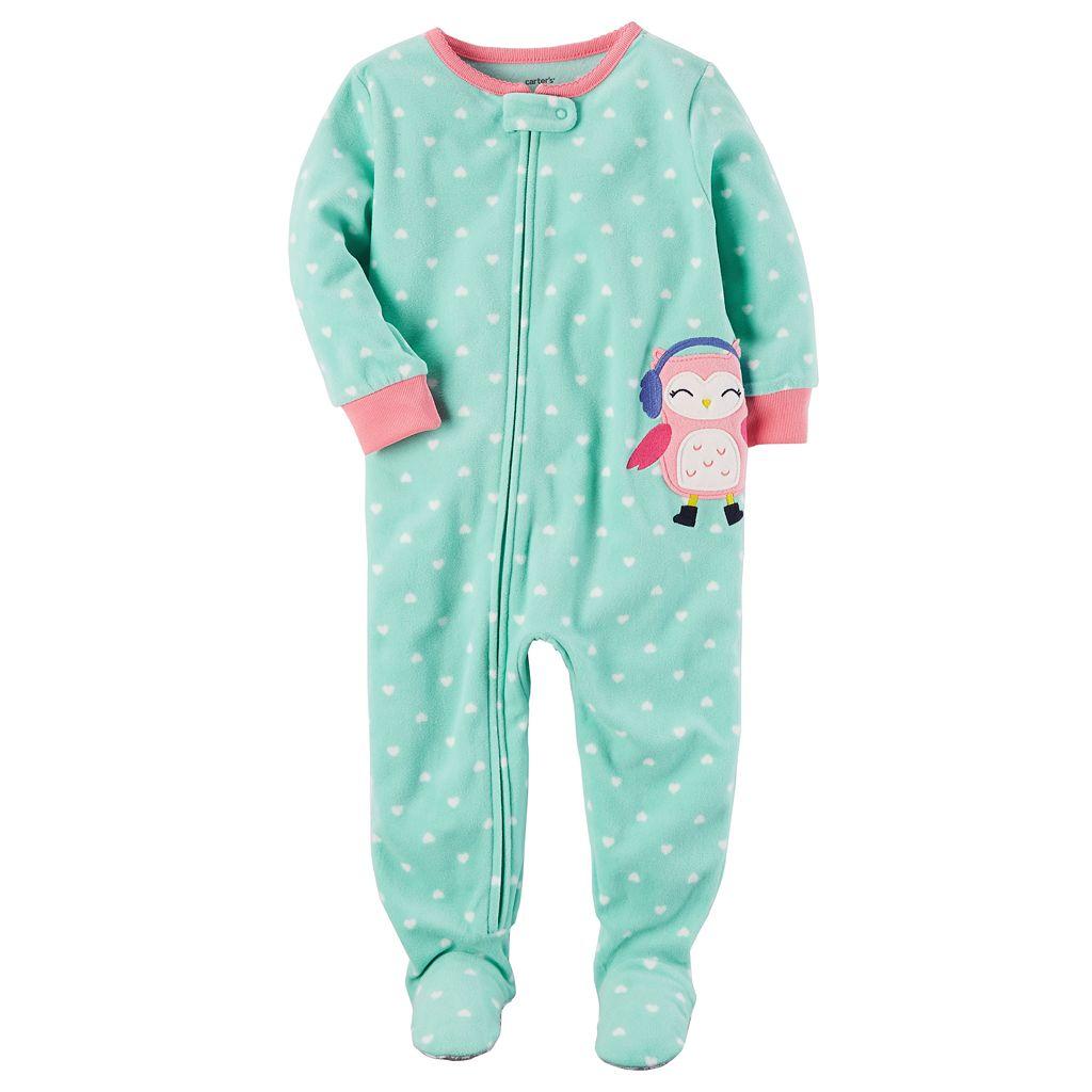 Toddler Girl Carter's Animal Applique Fleece Footed Pajamas