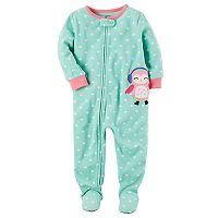 Toddler Girl Carter's Animal Applique Fleece Footed Pajamas