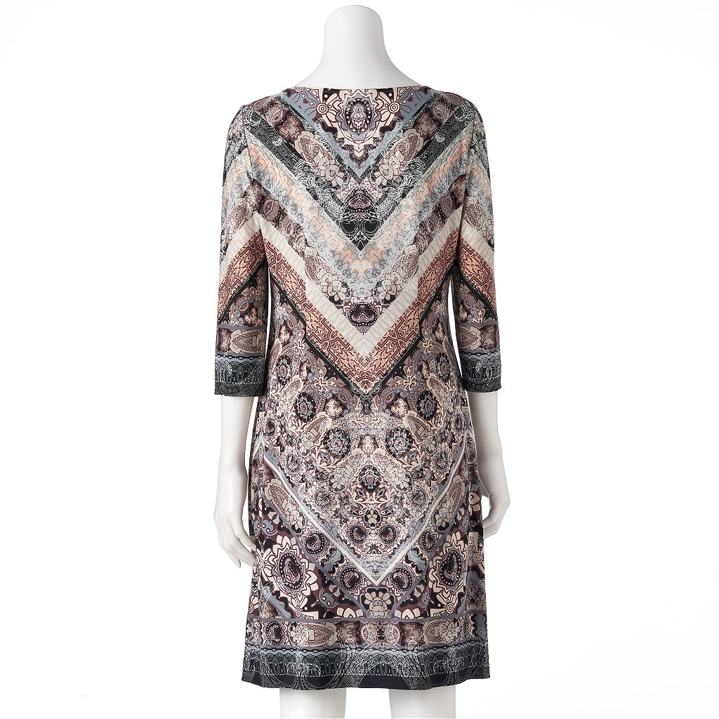 Women's Suite 7 Printed Chevron Shift Dress
