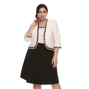 Plus Size Maya Brooke Scallop Dress & Jacket Set