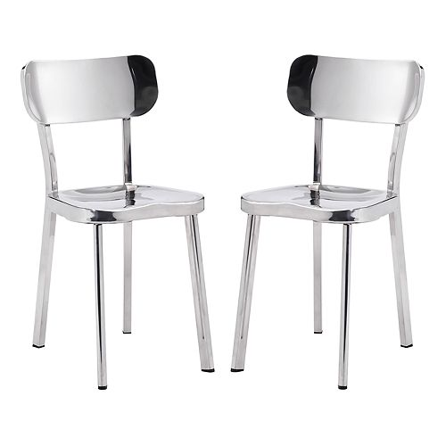 Zuo Modern Winter Stainless Steel Dining Chair 2-piece Set