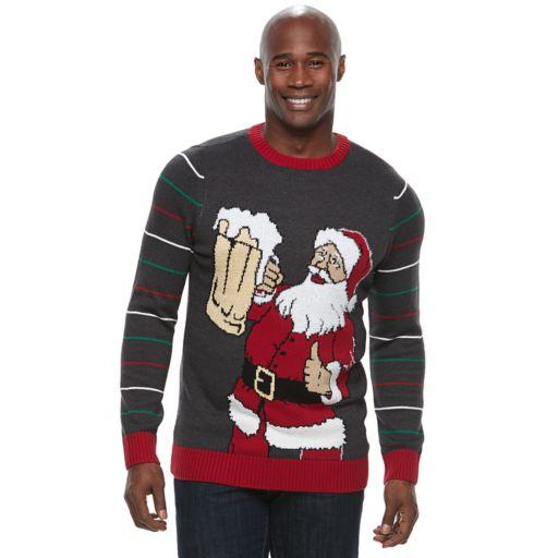 Big & Tall Method Santa with Beer Ugly Christmas Sweater