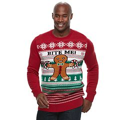 Big & Tall Method Gingerbread Man 'Bite Me!' Ugly Christmas Sweater