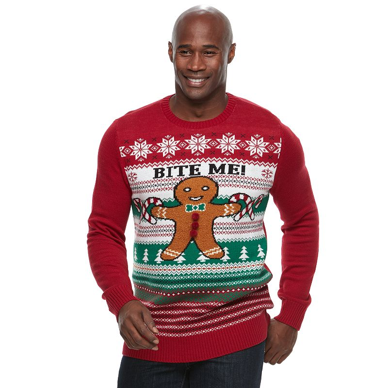 big tall method gingerbread man bite me ugly christmas sweater size