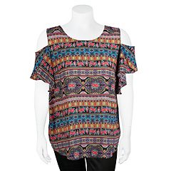Juniors' Plus Size IZ Byer Cold-Shoulder Top